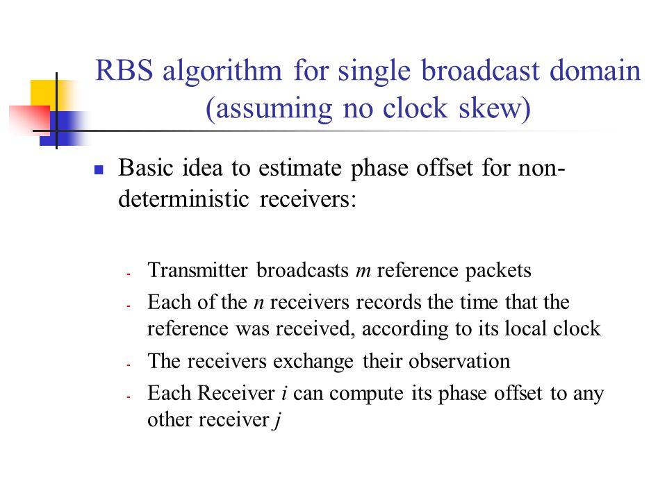 RBS algorithm for single broadcast domain (assuming no clock skew)