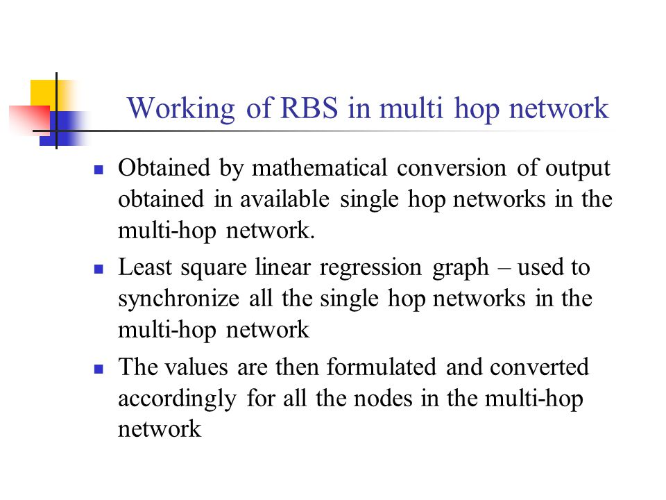 Working of RBS in multi hop network