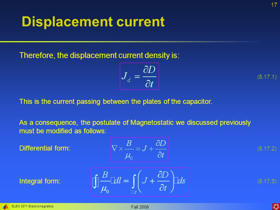 Displacement current Therefore, the displacement current density is: