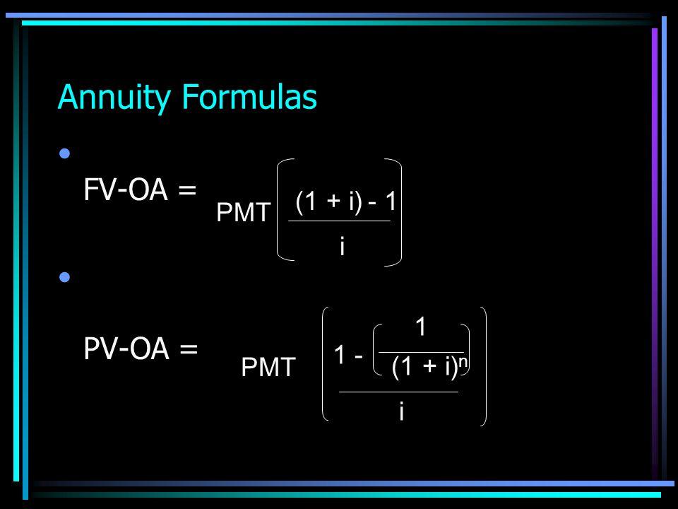 Annuity Formulas FV-OA = PV-OA = (1 + i) - 1 PMT i 1 1 - PMT (1 + i)n