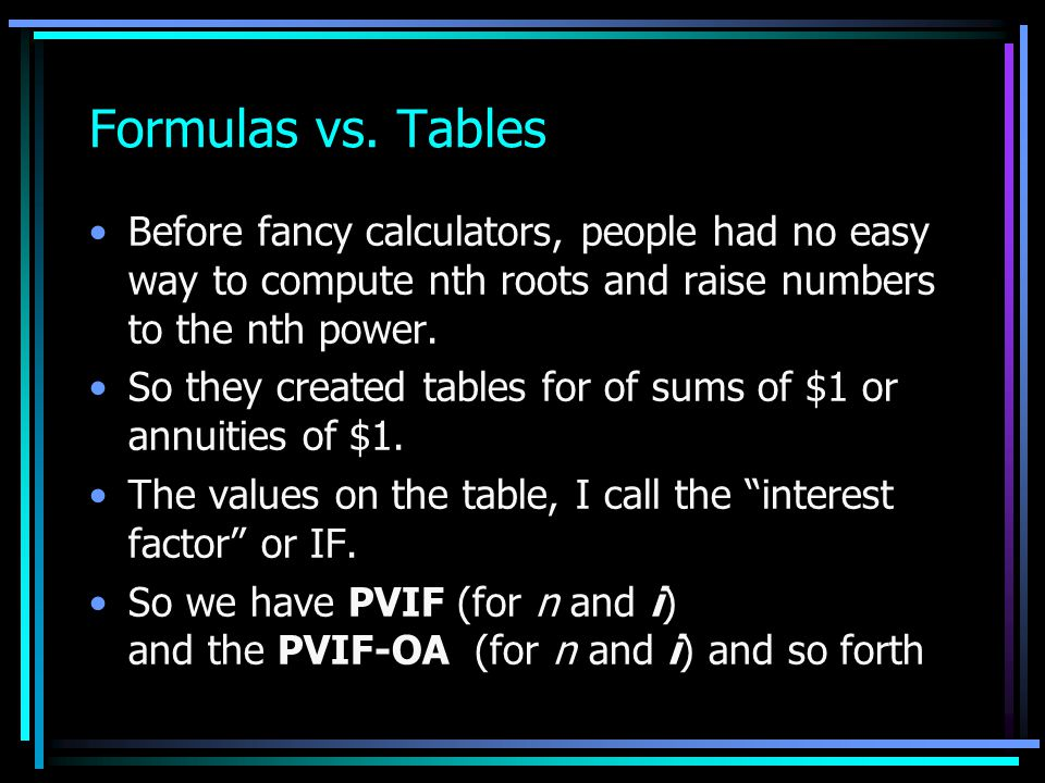 Formulas vs. Tables Before fancy calculators, people had no easy way to compute nth roots and raise numbers to the nth power.
