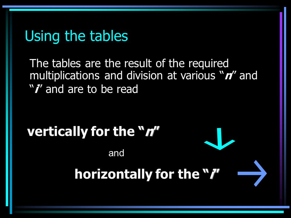 Using the tables vertically for the n