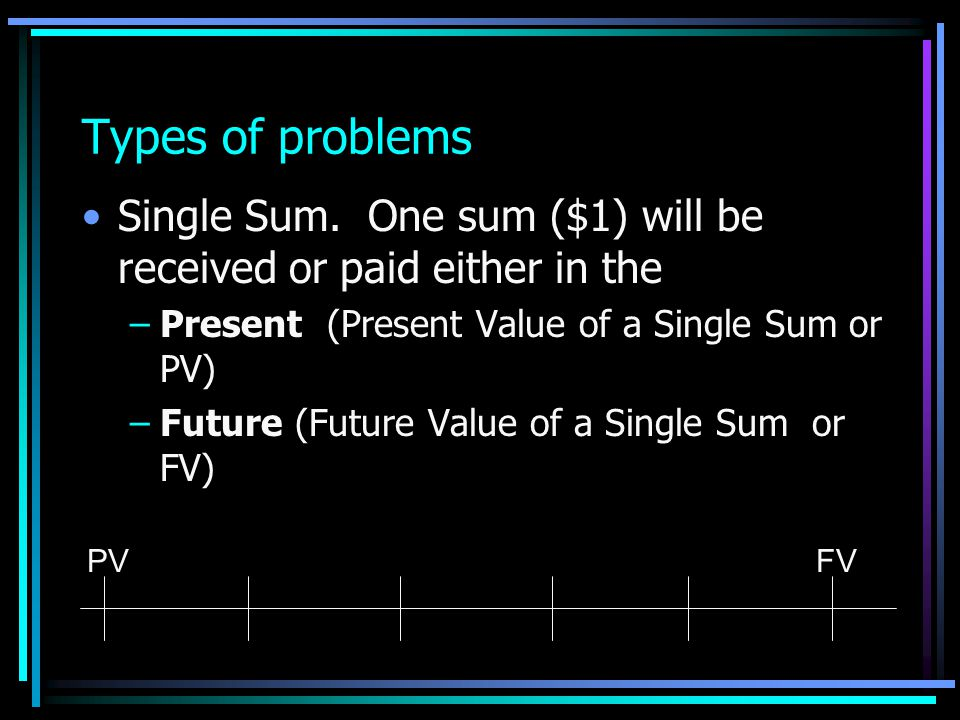 Types of problems Single Sum. One sum ($1) will be received or paid either in the. Present (Present Value of a Single Sum or PV)
