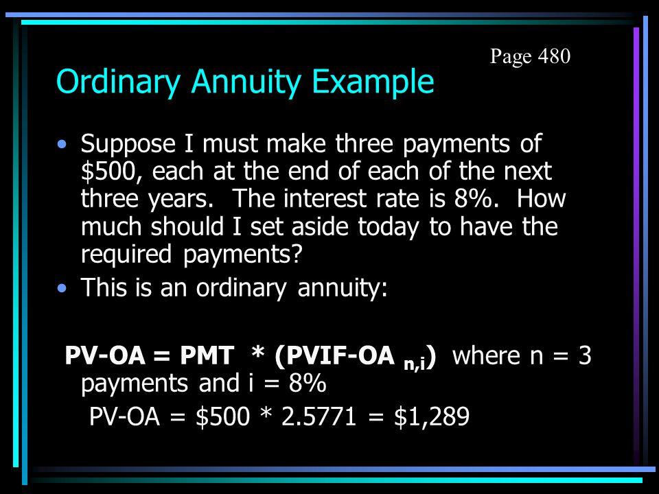 Ordinary Annuity Example