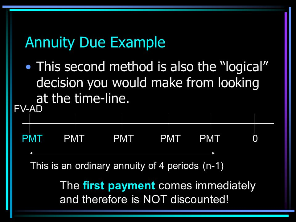 Annuity Due Example This second method is also the logical decision you would make from looking at the time-line.