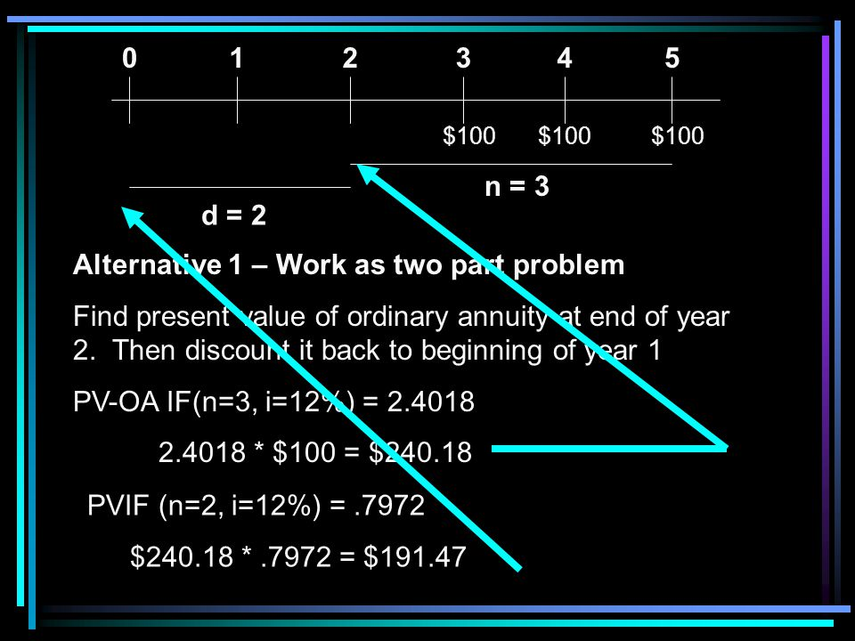 Alternative 1 – Work as two part problem