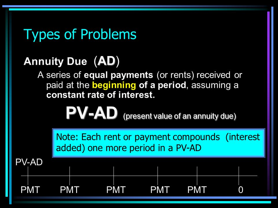 PV-AD (present value of an annuity due)