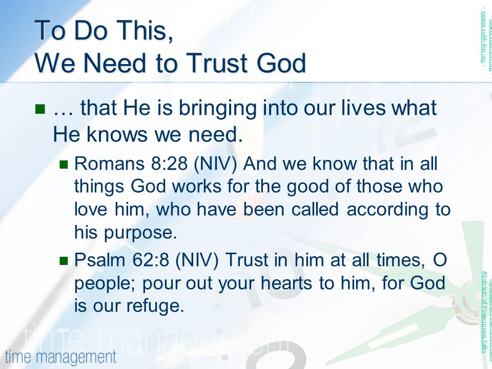To Do This, We Need to Trust God