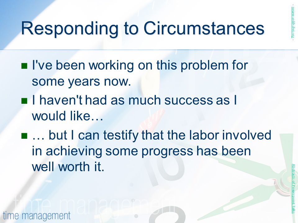 Responding to Circumstances
