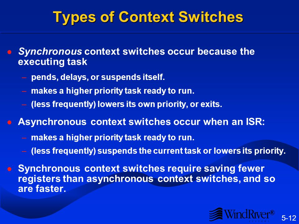 Context Switch When one task stops executing and a new task starts, a context switch or reschedule has occurred.