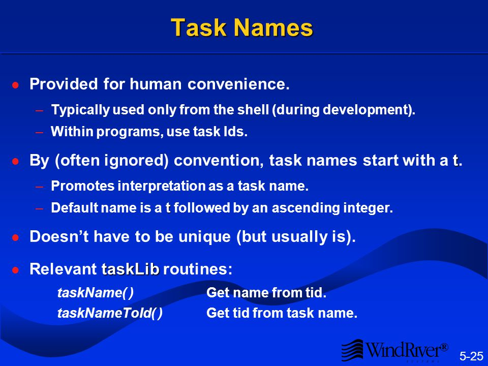 Task ID's Assigned by kernel when task is created.