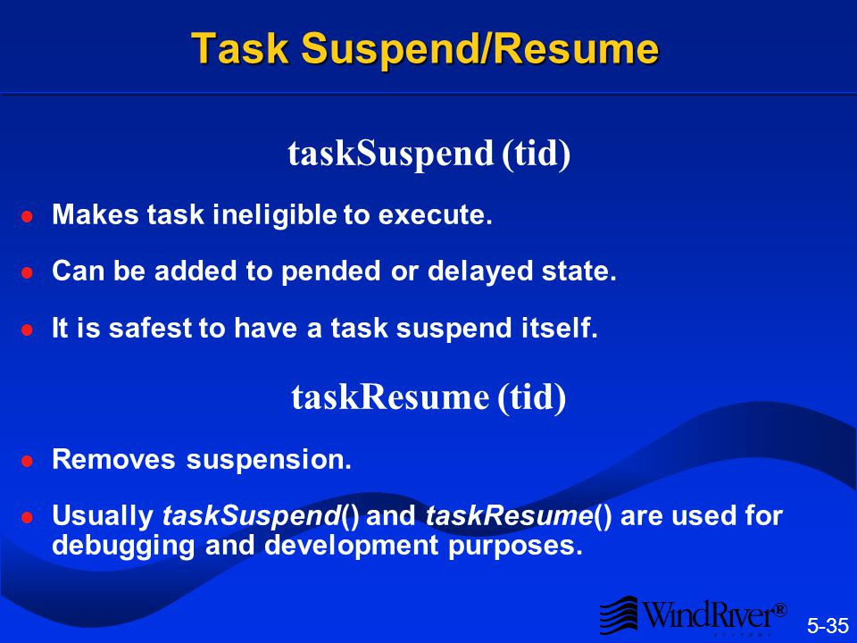 Task Restart taskRestart (tid)