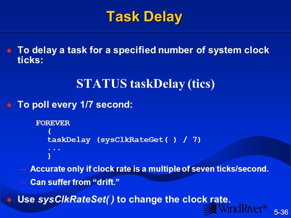 Task Suspend/Resume taskSuspend (tid) taskResume (tid)