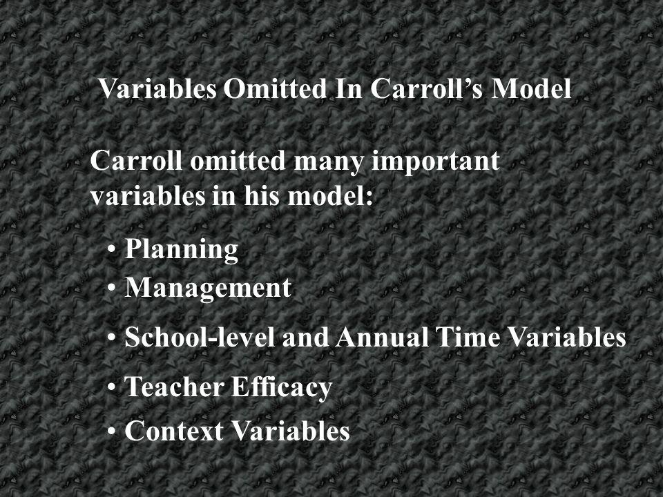 Variables Omitted In Carroll's Model