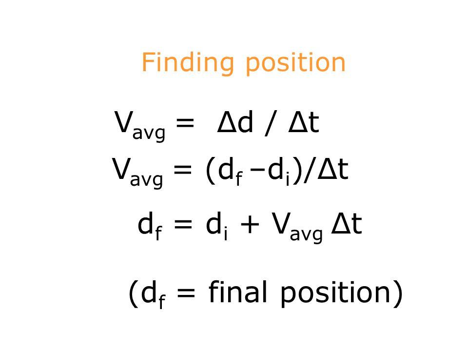 Vavg = Δd / Δt Vavg = (df –di)/Δt df = di + Vavg Δt