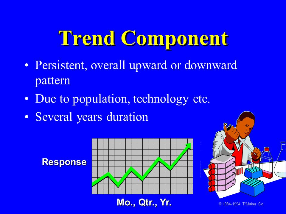 Trend Component Persistent, overall upward or downward pattern