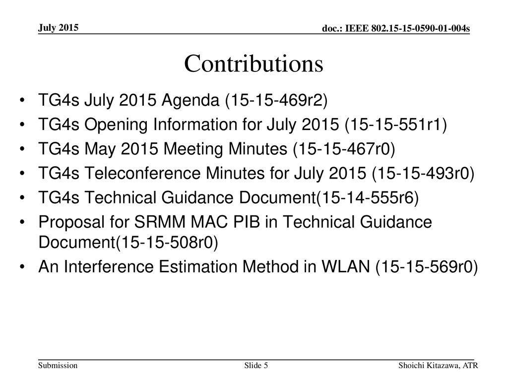 Contributions TG4s July 2015 Agenda ( r2)