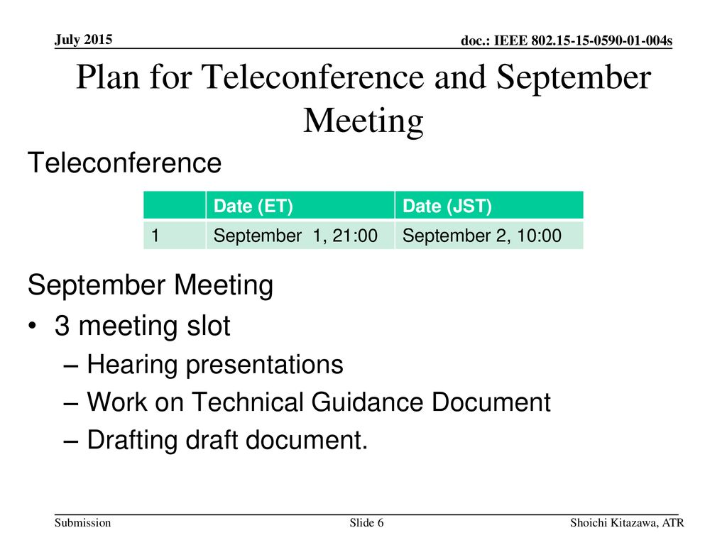 Plan for Teleconference and September Meeting