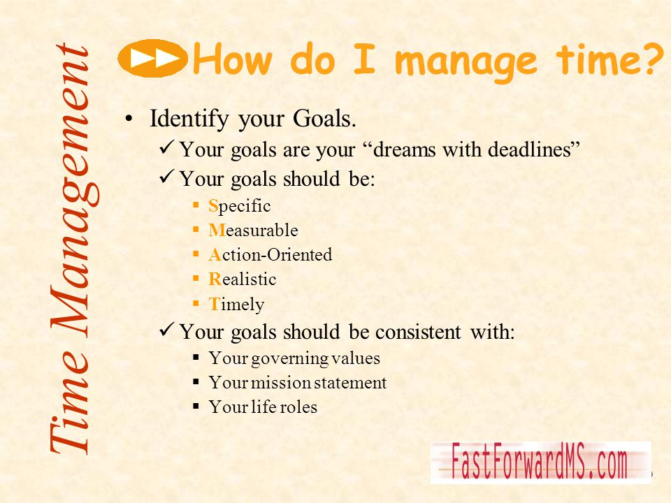 Time Management How do I manage time Identify your Goals.