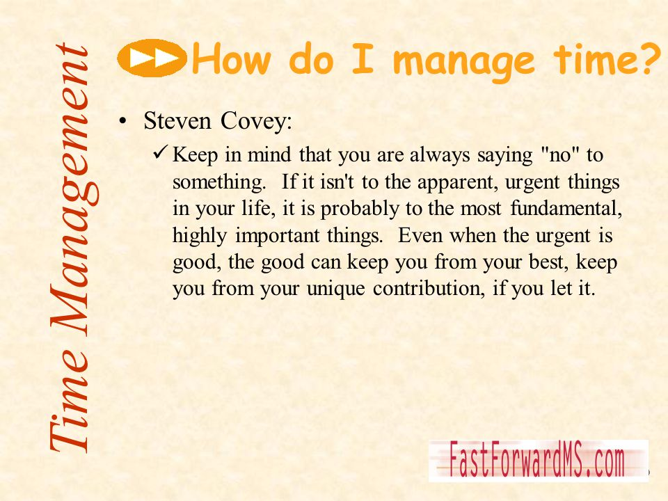 Time Management How do I manage time Steven Covey: