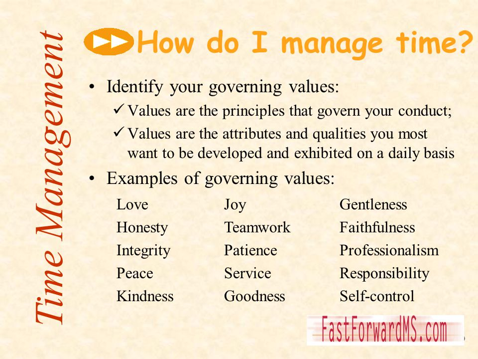 Time Management How do I manage time Identify your governing values: