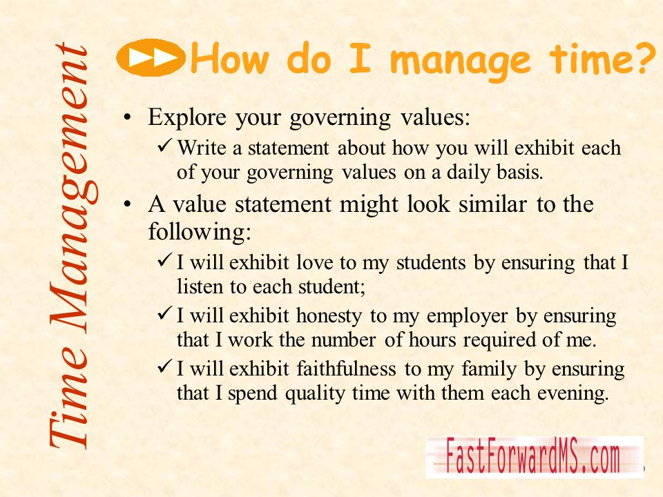 Time Management How do I manage time Explore your governing values:
