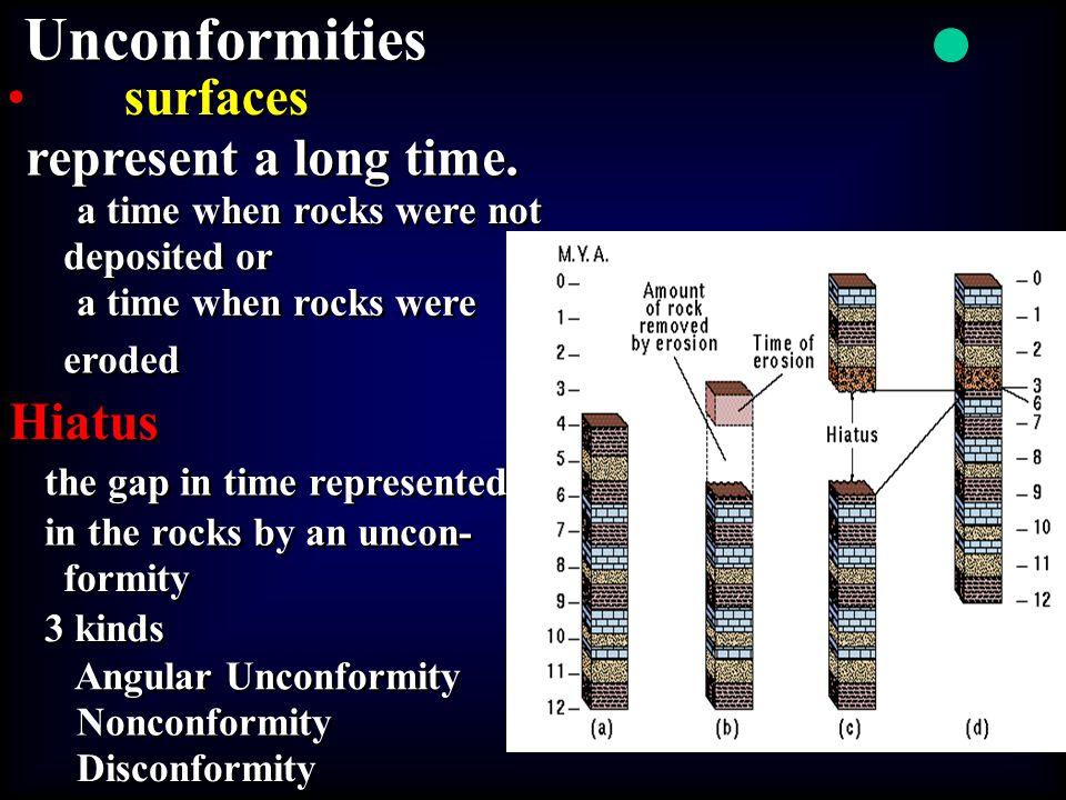 Unconformities • • surfaces represent a long time. Hiatus
