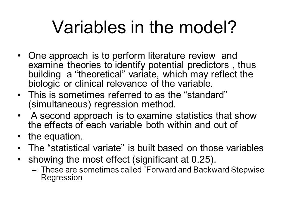 Variables in the model