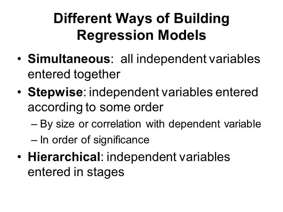 Different Ways of Building Regression Models
