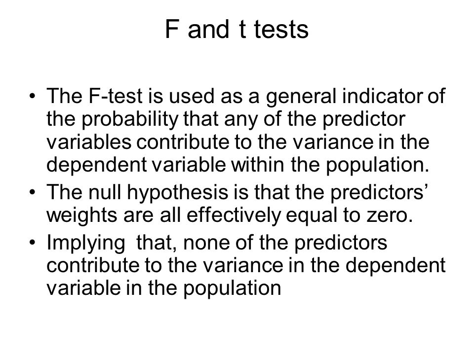 F and t tests