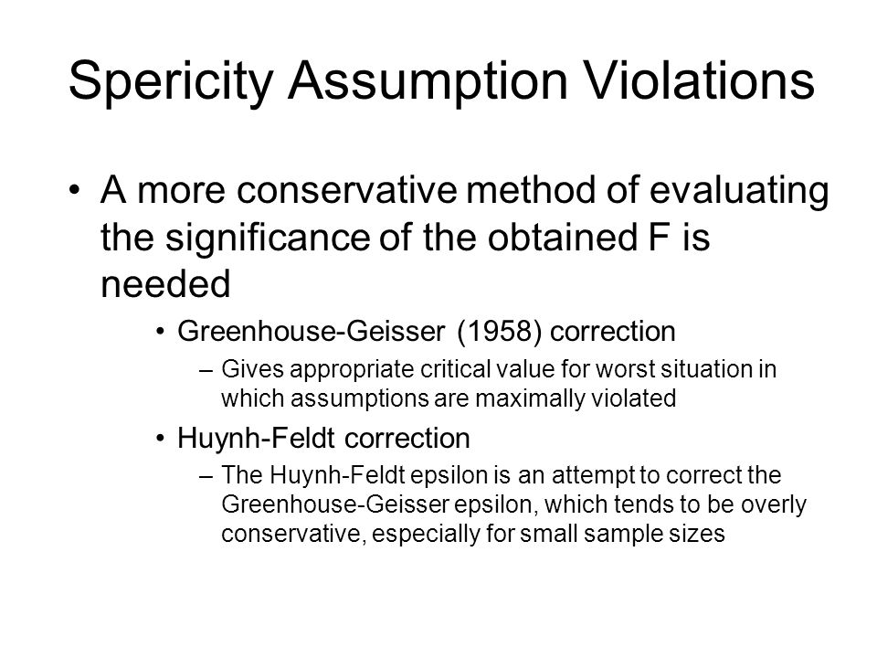 Spericity Assumption Violations