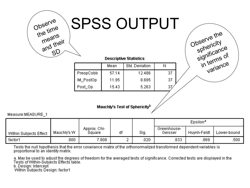 SPSS OUTPUT Observe the time means and their SD