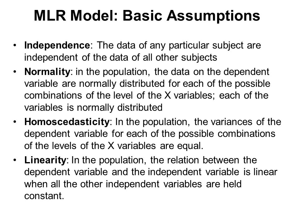 MLR Model: Basic Assumptions