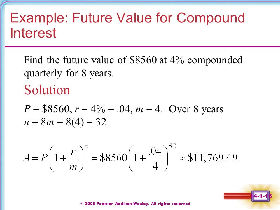 Example: Future Value for Compound Interest