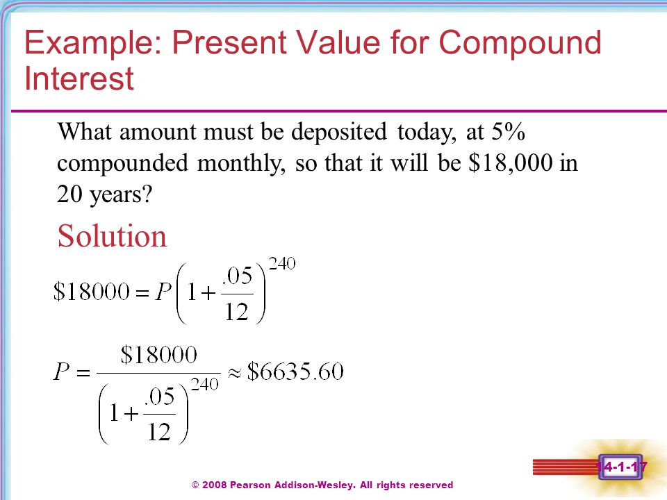 Example: Present Value for Compound Interest