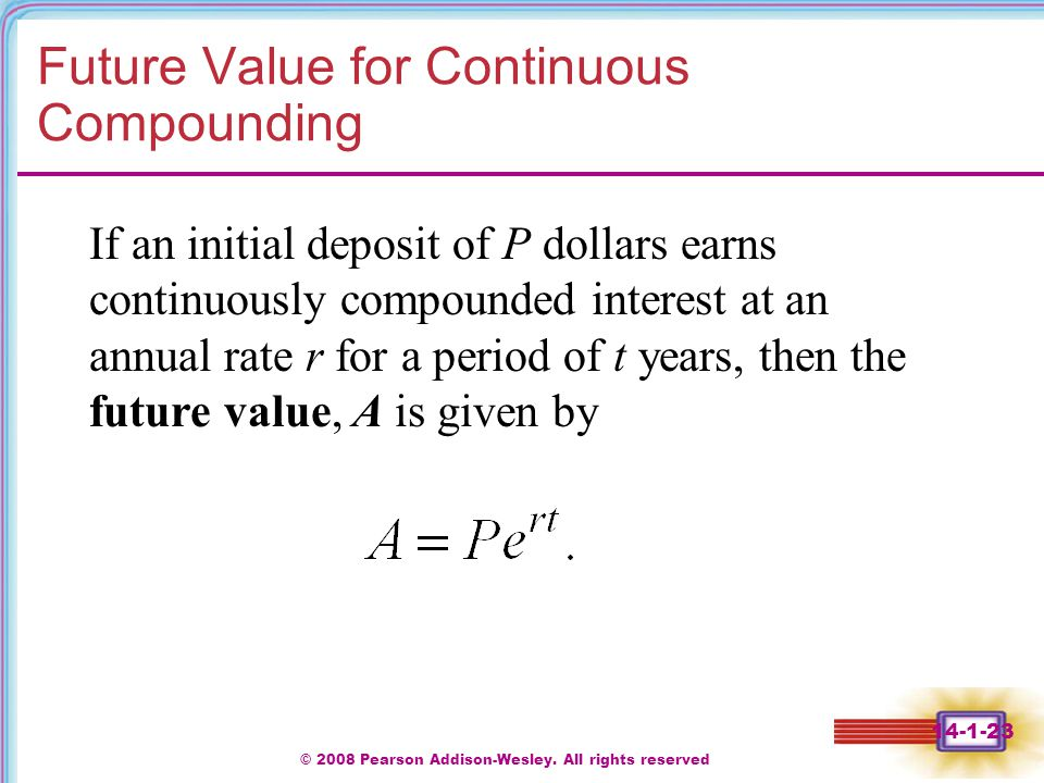 Future Value for Continuous Compounding