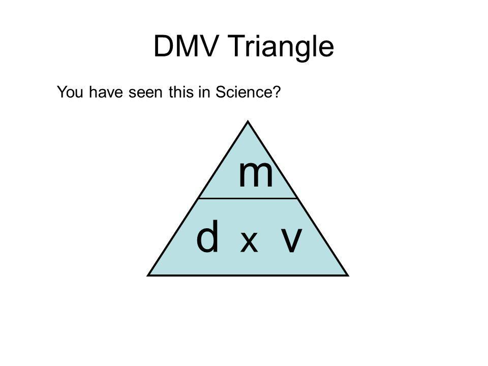 DMV Triangle You have seen this in Science d m v x
