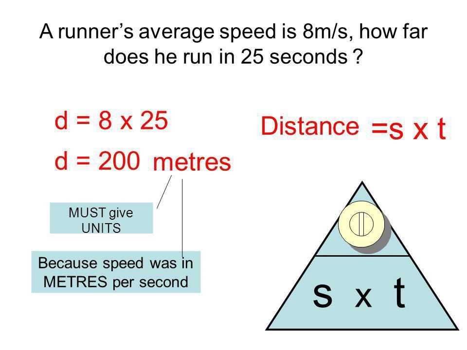 d s t x =s x t d = 8 x 25 Distance d = 200 metres