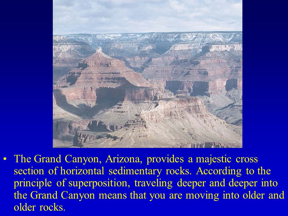 The Grand Canyon, Arizona, provides a majestic cross section of horizontal sedimentary rocks.