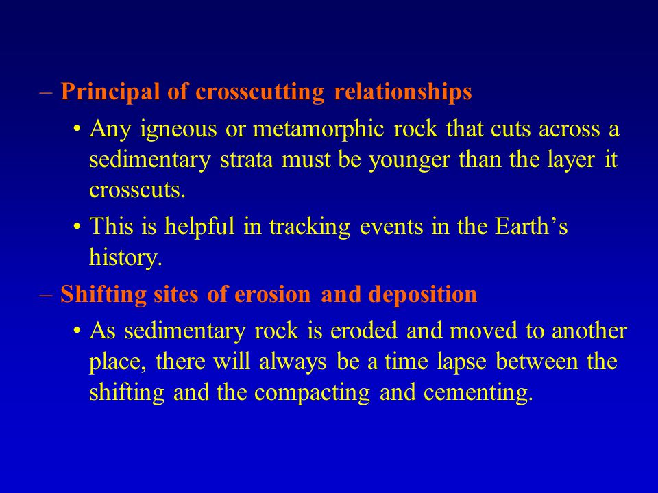 Principal of crosscutting relationships