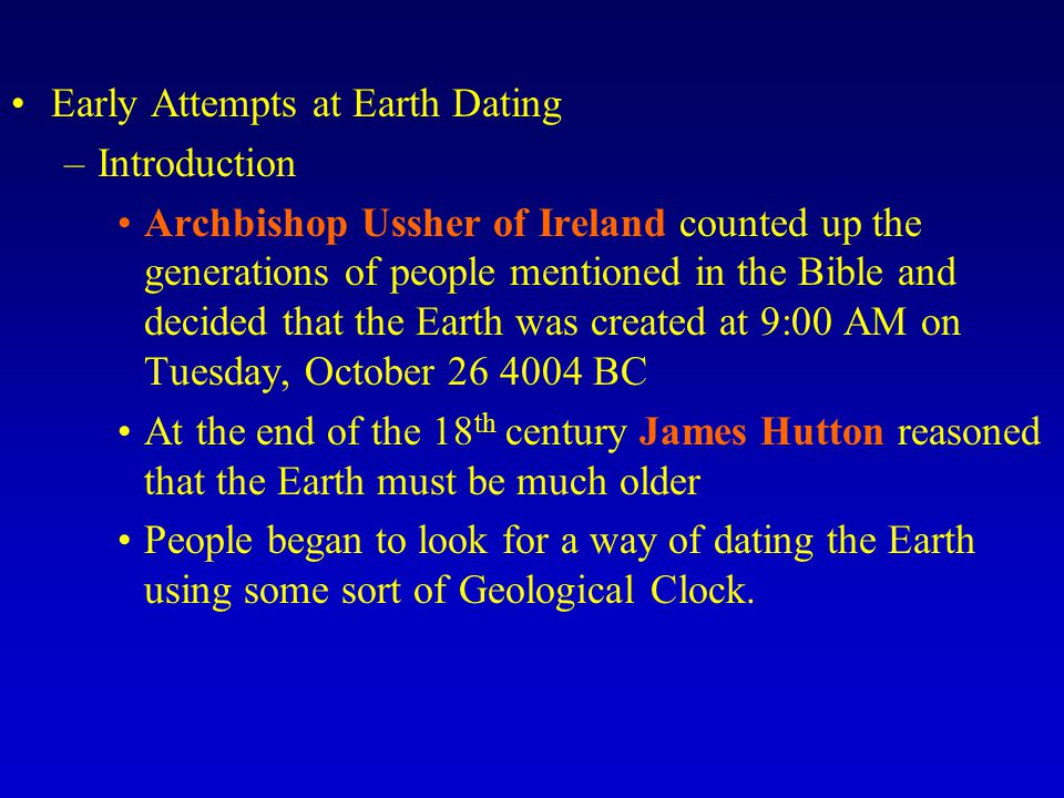 Early Attempts at Earth Dating