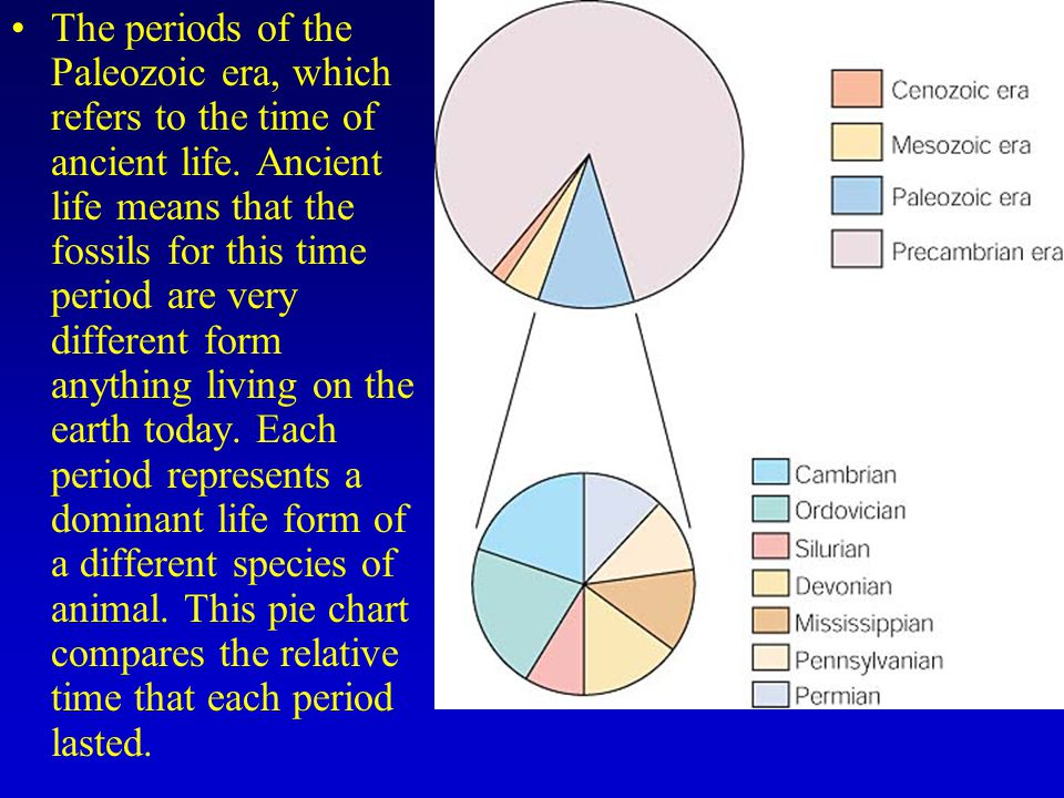 The periods of the Paleozoic era, which refers to the time of ancient life.