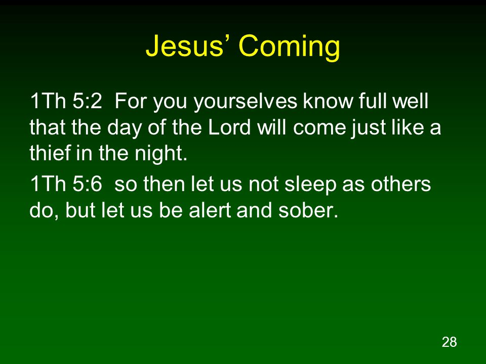 Jesus' Coming 1Th 5:2 For you yourselves know full well that the day of the Lord will come just like a thief in the night.