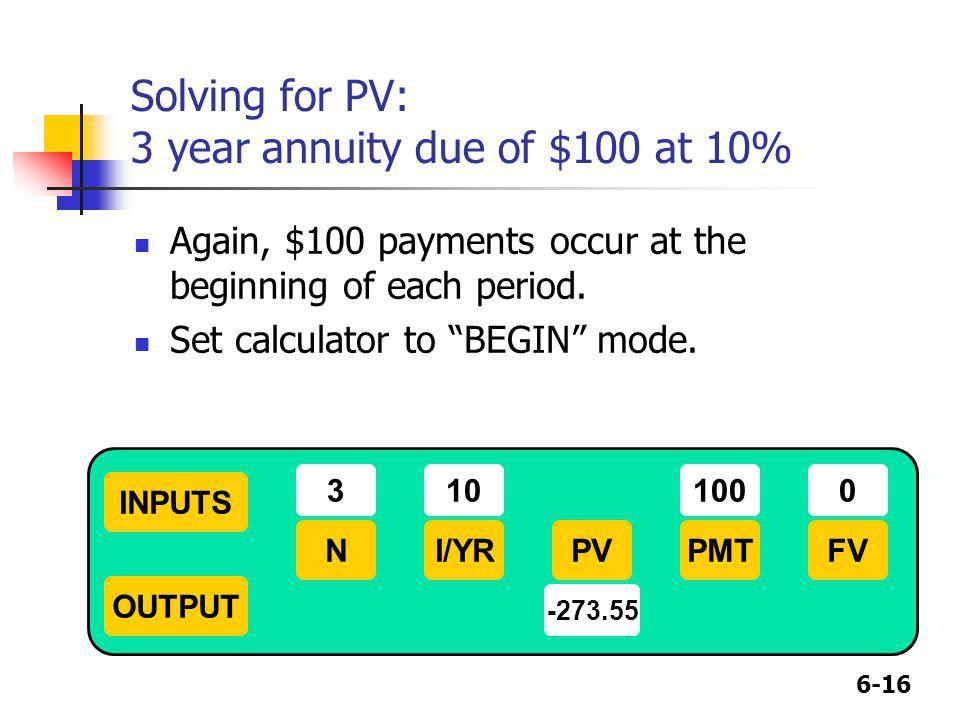 Solving for PV: 3 year annuity due of $100 at 10%