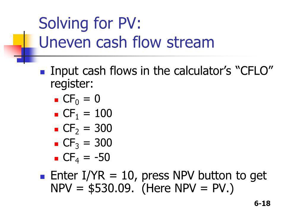 Solving for PV: Uneven cash flow stream