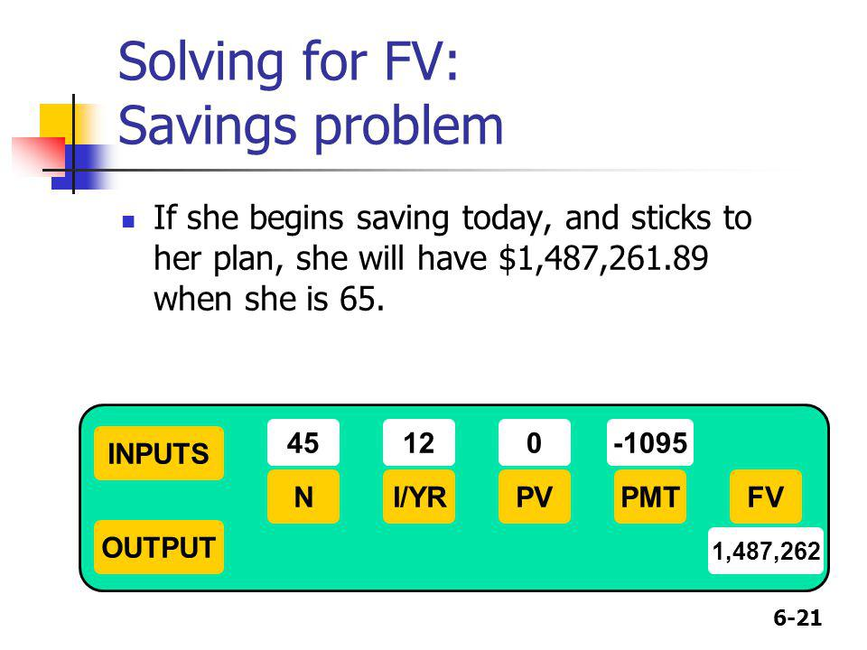 Solving for FV: Savings problem