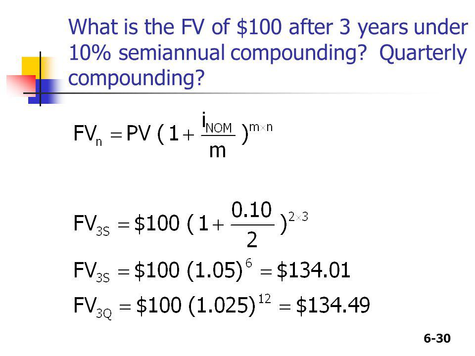 What is the FV of $100 after 3 years under 10% semiannual compounding