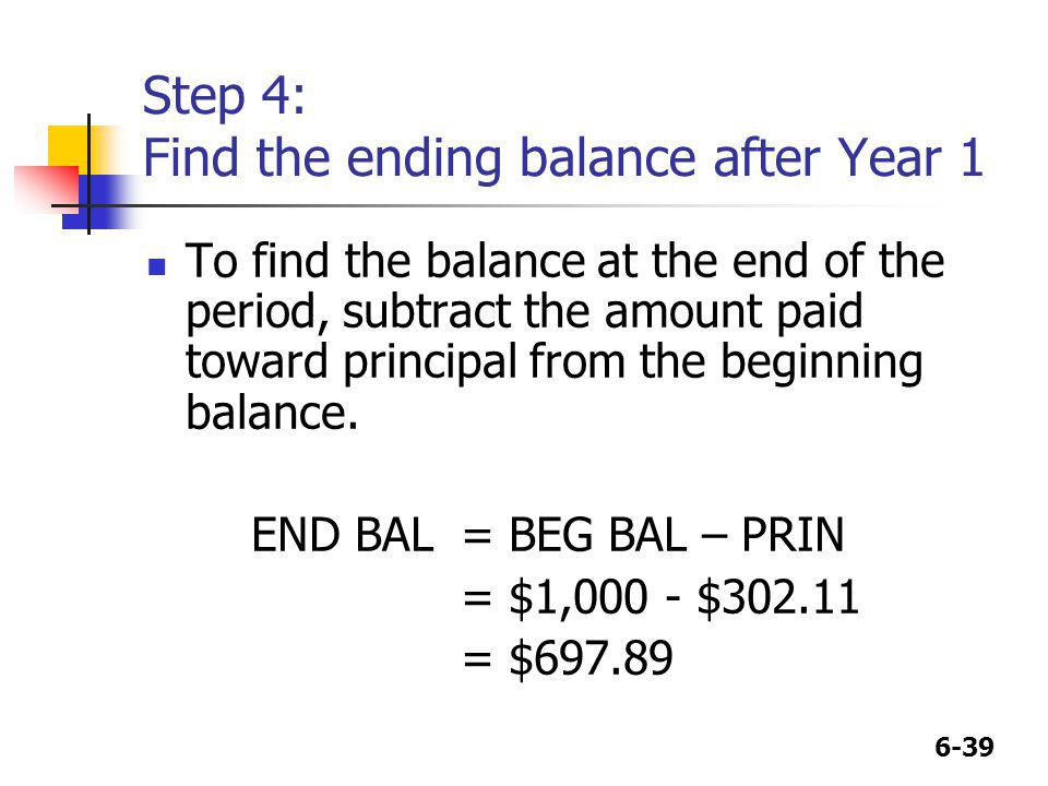 Step 4: Find the ending balance after Year 1