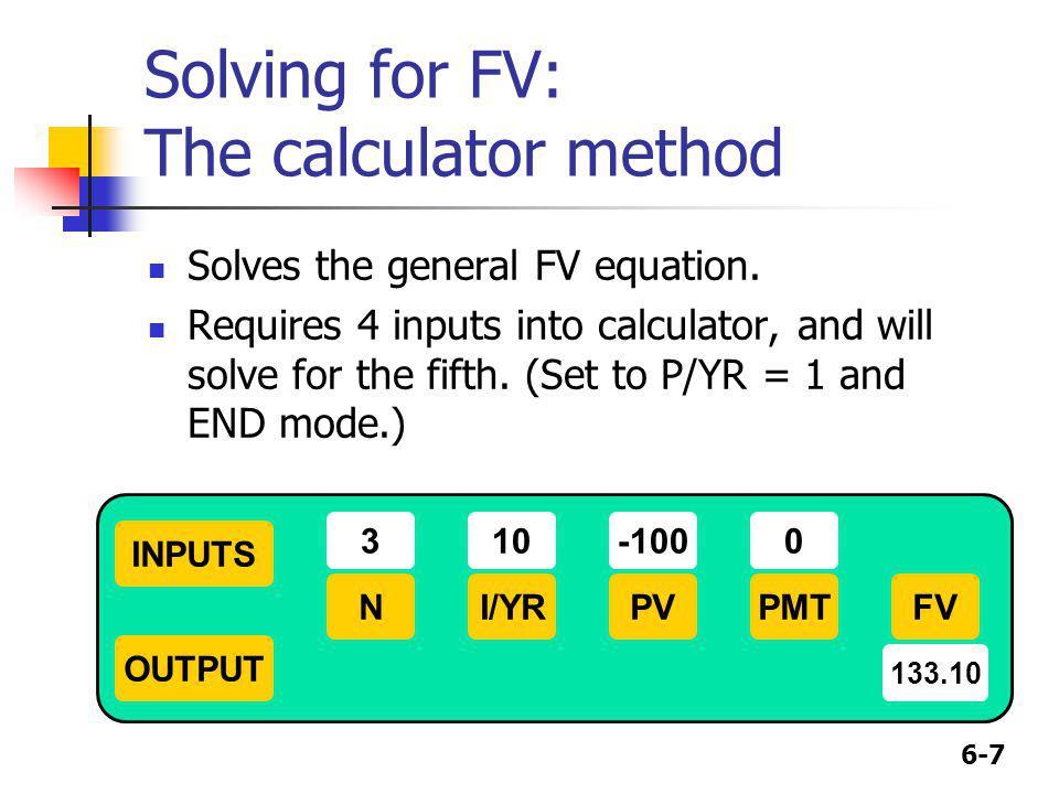 Solving for FV: The calculator method