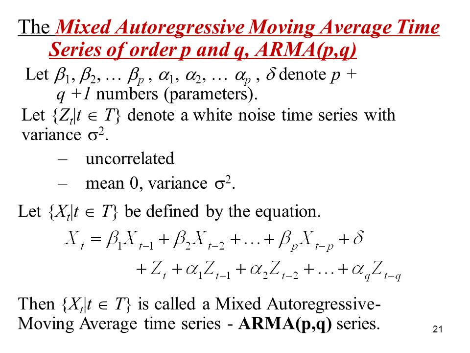 The Mixed Autoregressive Moving Average Time Series of order p and q, ARMA(p,q)